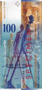 Imagen de El hombre que camina en el billete de 100 francos suizos.