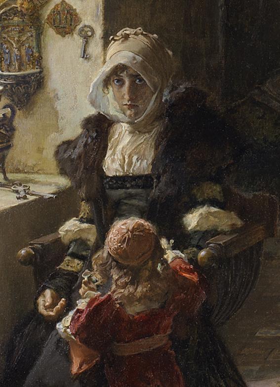 Detalle La reina doña Juana «la Loca», recluida en Tordesillas con su hija, la infanta doña Catalina, 1096. Óleo sobre lienzo 85 x 146 cm. Francisco Pradilla y Ortiz