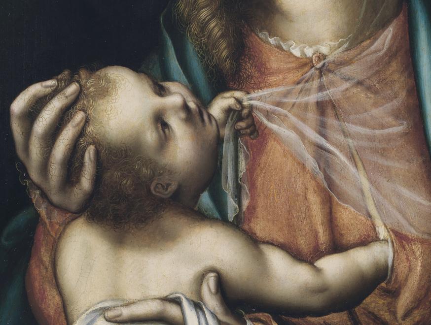 Detalle Virgen con el Niño, hacia 1565. Luis de Morales. Óleo sobre tabla, 38 x 28 cm.
