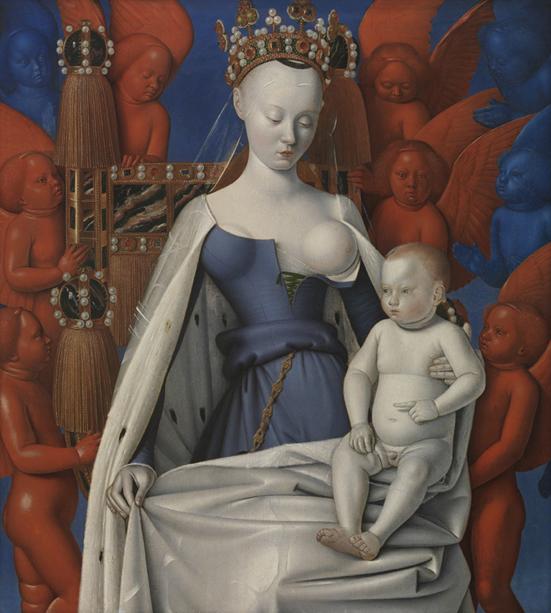 Virgen con el Niño y ángeles, 1450 Jean Fouquet (h. 1420 - h. 1481) Óleo sobre tabla, 94,5 x 85,5 cm Ámberes. Real Museo de Bellas Artes