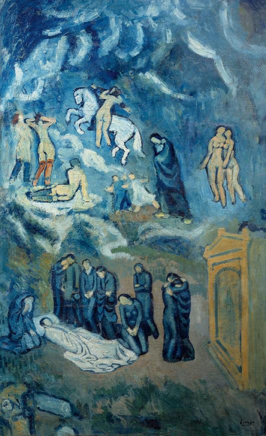 Evocación. El entierro de Casagemas. Pablo Picasso. Óleo sobre lienzo, 150,5 x 90,5 cm 1901 París, Musee d'Art Moderne de la Ville de Paris.