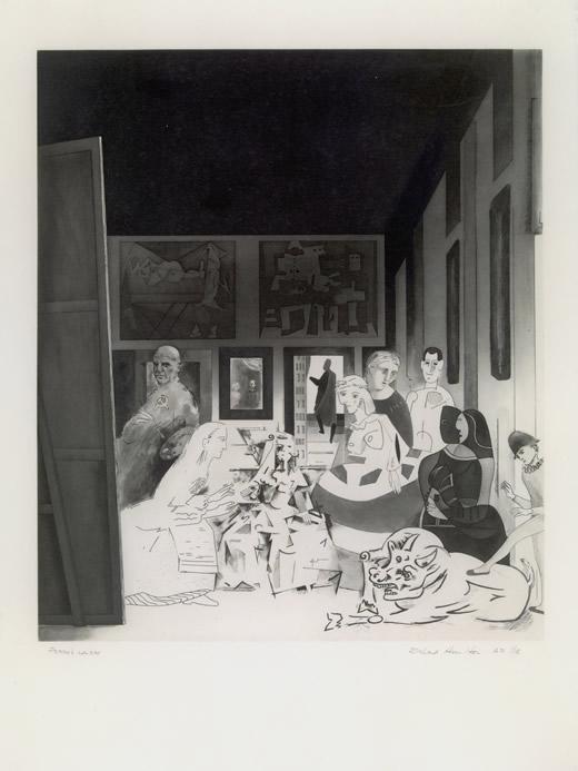 Las Meninas. Aguafuerte, aguatinta al azúcar, barniz blando, grabado de puntos, ruleta, punta seca y bruñidor, 750 x 570 mm 1973. Colección del artista