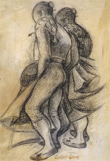 Toreros, 1956. Lápiz compuesto/papel. 31 x 22 cm.