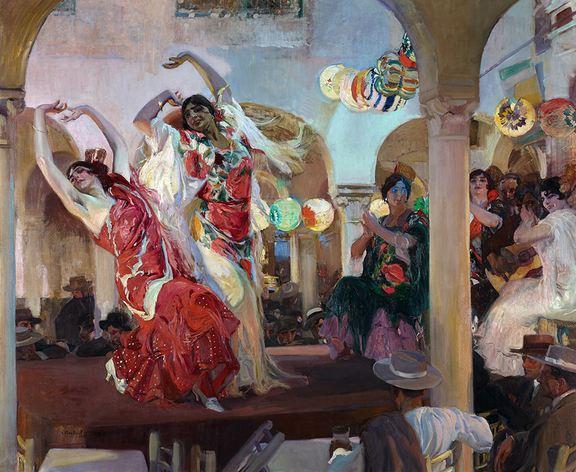 Baile en el café Novedades de Sevilla. Joaquín Sorolla y Bastida. Óleo sobre lienzo, 246 x 295 cm. Colección Banco Santander, Madrid (Joaquín Cortés)