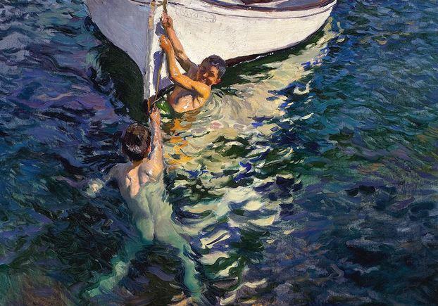 El bote blanco. Jávea. Joaquín Sorolla y Bastida. 1905. Óleo sobre lienzo, 105 x 150 cm. Colección particular, Estados Unidos