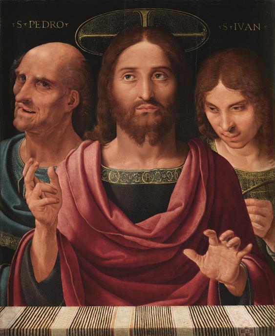 Salvator Mundi entre San Pedro y San Juan, Fernando Yáñez de la Almedina, 1506-1507 Óleo sobre tabla, 75 x 62 cm.