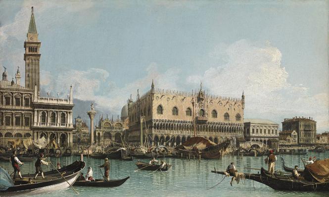 El muelle de Venecia próximo a la plaza de San Marcos, ca. 1729. Giovanni Antonio Canal, Canaletto Óleo sobre lienzo, 48,5 x 80,5 cm