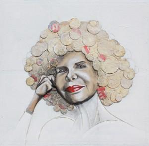 Feliz, 2014, Alberto Romero, 100 x 100 cm Técnica mixta, madera
