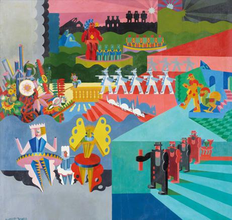 Mis bailes plásticos, 1918, Fortunato Depero Óleo sobre lienzo, 189 x 180 cm. colección particular, Suiza