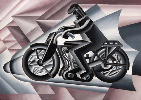Motociclista, sólido con velocidad, 1927 Fortunato Depero,  Óleo sobre lienzo, 117 x 163,5 cm.  Colección particular, Suiza
