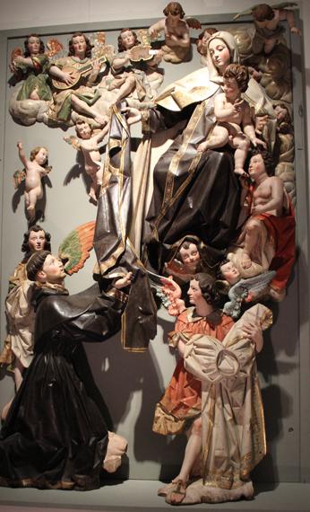 Entrega del escapulario a San Simón Stock. Hacia 1635. Atribuido a Andrés Solanes (Taller de Gregorio Fernández). Museo Nacional de Escultura. Valladolid.