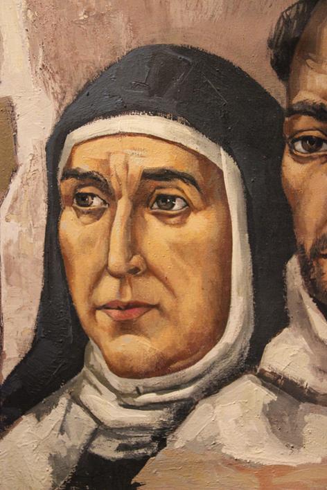 Santa Teresa, detalle del lienzo Santa Teresa, San Juan de la Cruz y Fray Luis de León. José Vela Zanetti. 1970  Convento San Lorenzo de los PP. Carmelitas Descalzos de León