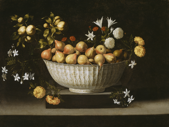 Peras en cuenco de porcelana, c. 1645