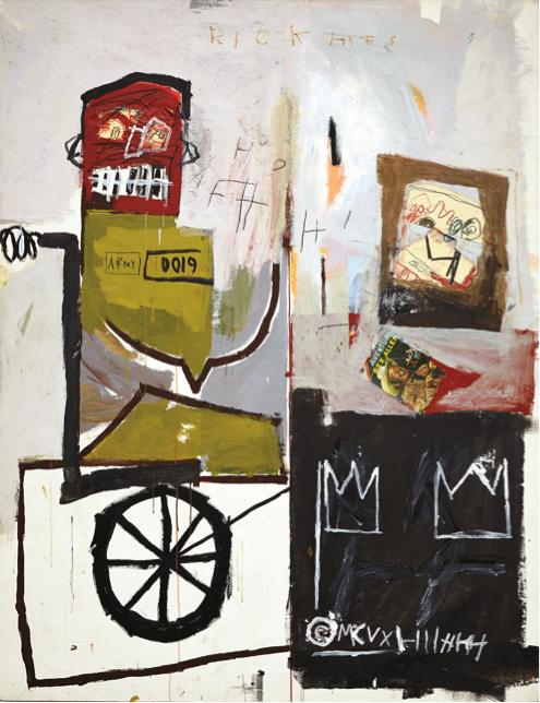 Número 4, 1981 Acrílico, barra de óleo y collage papel, lienzo, 167 x 137 cm     Colección Andre Sakhai, cortesía Marianne Boesky Gallery, Nueva York. Foto: Jason Wyche © Estate of Jean-Michel Basquiat. Licensed by Artestar, N. Y.