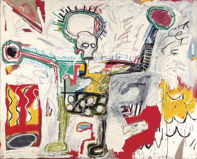 Sin título, 1982. Acrílico y óleo sobre lino, 193 x 239 cm.  Museum Boijmans Van Beuningen, Róterdam. Foto: Studio Tromp, Róterdam © The Estate of Jean-Michel Basquiat. Licensed by Artestar, New York