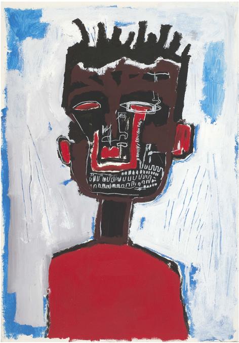 Autorretrato, 1984 Acrílico y barra de óleo sobre papel, montado sobre lienzo 100 x 70 cm. Yoav Harlap Collection © Estate of Jean-Michel Basquiat.  Licensed by Artestar, New York