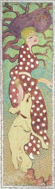 Mujer con vestido de lunares blancos, 160,3 × 48 cm.  Temple sobre papel encolado a lienzo, 160,5 × 48 cm cada panel París, Musée d'Orsay © Rmn-Grand Palais (musée d'Orsay) / Hervé Lewandowski  © Pierre Bonnard, VEGAP, Madrid, 2015