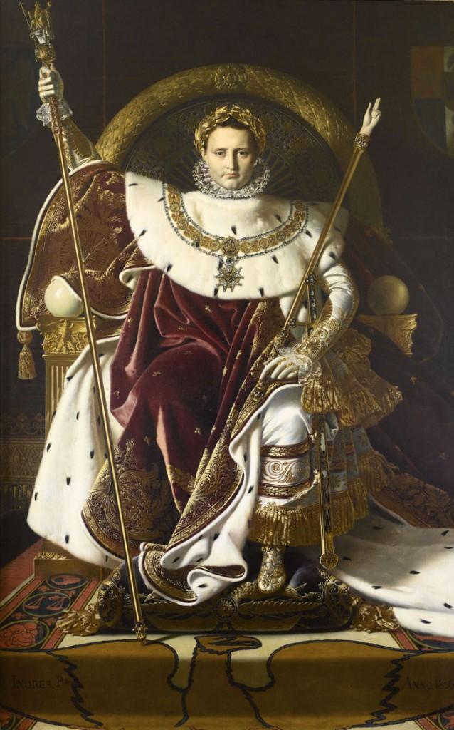 Napoleón I en su trono imperial Jean-Auguste Dominique Ingres Óleo sobre lienzo, 259 x 162 cm 1806 París, depôt du Musée du Louvre au Musée de l'Armée 1832