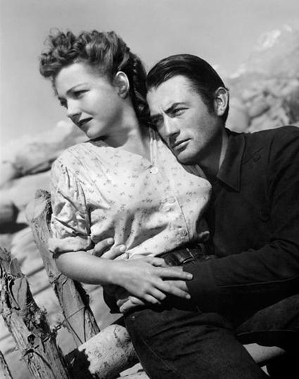 Gregory Peck con Anne Baxter en Cielo amarillo, 1948