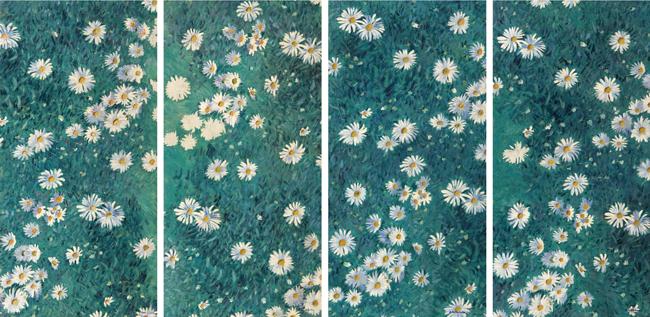 Parterre de Margaritas, hacia 1892-1893 Cuatro paneles. Óleo sobre lienzo. 100 x 50,3 cm (cada panel) Musée des impressionnismes, Giverny, MDIG 2016.2.1 a 4