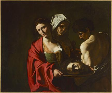 Salomé con la cabeza del Bautista, h 1607. Caravaggio. Óleo sobre lienzo 116 x 140 cm. Palacio Real de Madrid