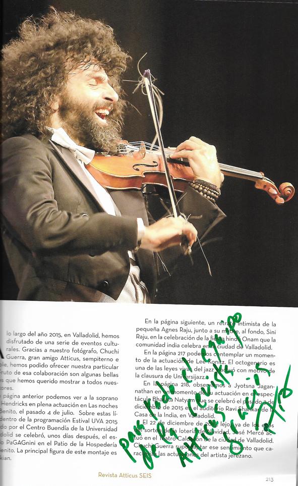 Ejemplar Revista Atticus dedicado por Ara Malikian